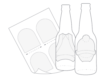 Illustration of glass bottles with labels